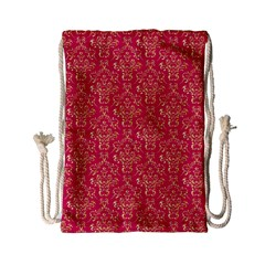 Damask Background Gold Drawstring Bag (small)