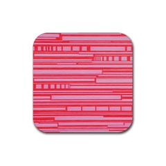 Index Red Pink Rubber Square Coaster (4 pack)