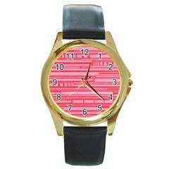 Index Red Pink Round Gold Metal Watch