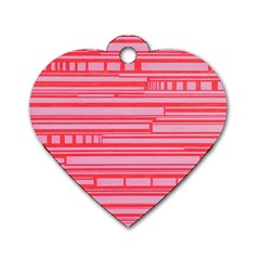 Index Red Pink Dog Tag Heart (two Sides)