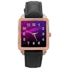 Purple Wallpaper Rose Gold Leather Watch