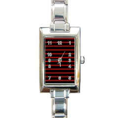 Red And Black Horizontal Lines And Stripes Seamless Tileable Rectangle Italian Charm Watch