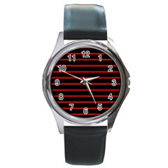 Red And Black Horizontal Lines And Stripes Seamless Tileable Round Metal Watch