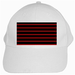 Red And Black Horizontal Lines And Stripes Seamless Tileable White Cap