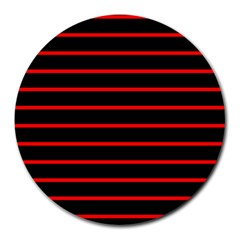 Red And Black Horizontal Lines And Stripes Seamless Tileable Round Mousepads