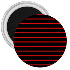 Red And Black Horizontal Lines And Stripes Seamless Tileable 3  Magnets