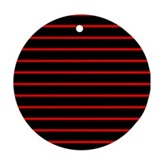 Red And Black Horizontal Lines And Stripes Seamless Tileable Ornament (round)