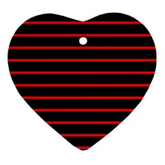 Red And Black Horizontal Lines And Stripes Seamless Tileable Ornament (heart)