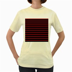 Red And Black Horizontal Lines And Stripes Seamless Tileable Women s Yellow T Shirt