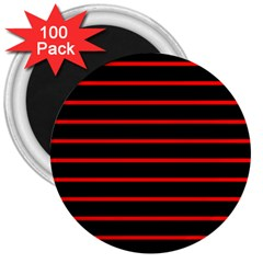 Red And Black Horizontal Lines And Stripes Seamless Tileable 3  Magnets (100 pack)
