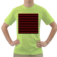 Red And Black Horizontal Lines And Stripes Seamless Tileable Green T Shirt