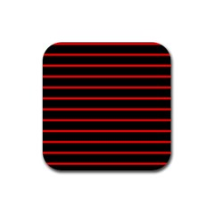 Red And Black Horizontal Lines And Stripes Seamless Tileable Rubber Square Coaster (4 Pack)