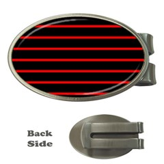 Red And Black Horizontal Lines And Stripes Seamless Tileable Money Clips (Oval)
