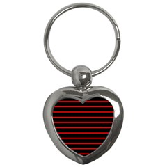 Red And Black Horizontal Lines And Stripes Seamless Tileable Key Chains (heart)