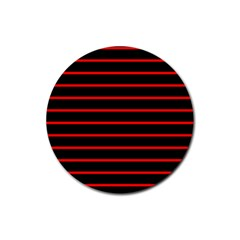 Red And Black Horizontal Lines And Stripes Seamless Tileable Rubber Coaster (round)