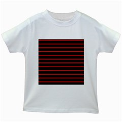 Red And Black Horizontal Lines And Stripes Seamless Tileable Kids White T Shirts
