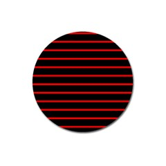 Red And Black Horizontal Lines And Stripes Seamless Tileable Magnet 3  (Round)