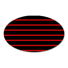 Red And Black Horizontal Lines And Stripes Seamless Tileable Oval Magnet