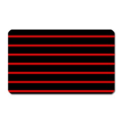 Red And Black Horizontal Lines And Stripes Seamless Tileable Magnet (rectangular)
