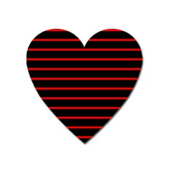 Red And Black Horizontal Lines And Stripes Seamless Tileable Heart Magnet