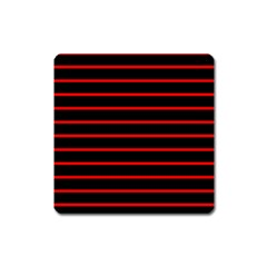 Red And Black Horizontal Lines And Stripes Seamless Tileable Square Magnet