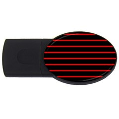Red And Black Horizontal Lines And Stripes Seamless Tileable Usb Flash Drive Oval (2 Gb)