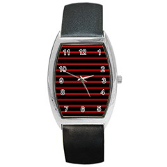 Red And Black Horizontal Lines And Stripes Seamless Tileable Barrel Style Metal Watch