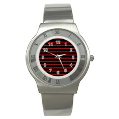 Red And Black Horizontal Lines And Stripes Seamless Tileable Stainless Steel Watch