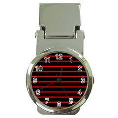 Red And Black Horizontal Lines And Stripes Seamless Tileable Money Clip Watches