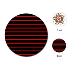 Red And Black Horizontal Lines And Stripes Seamless Tileable Playing Cards (round)