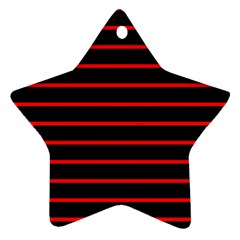 Red And Black Horizontal Lines And Stripes Seamless Tileable Star Ornament (two Sides)