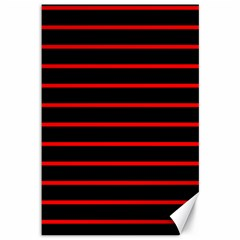 Red And Black Horizontal Lines And Stripes Seamless Tileable Canvas 12  X 18