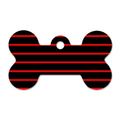Red And Black Horizontal Lines And Stripes Seamless Tileable Dog Tag Bone (two Sides)