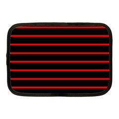 Red And Black Horizontal Lines And Stripes Seamless Tileable Netbook Case (medium)