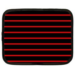 Red And Black Horizontal Lines And Stripes Seamless Tileable Netbook Case (large)