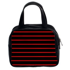 Red And Black Horizontal Lines And Stripes Seamless Tileable Classic Handbags (2 Sides)