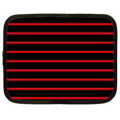 Red And Black Horizontal Lines And Stripes Seamless Tileable Netbook Case (xl)