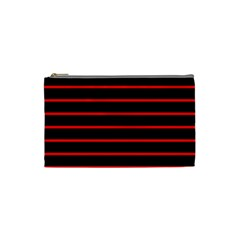 Red And Black Horizontal Lines And Stripes Seamless Tileable Cosmetic Bag (small)