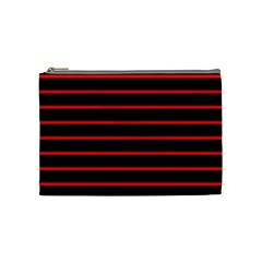 Red And Black Horizontal Lines And Stripes Seamless Tileable Cosmetic Bag (medium)
