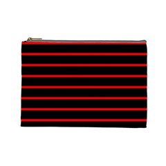 Red And Black Horizontal Lines And Stripes Seamless Tileable Cosmetic Bag (large)