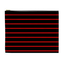 Red And Black Horizontal Lines And Stripes Seamless Tileable Cosmetic Bag (xl)