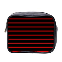Red And Black Horizontal Lines And Stripes Seamless Tileable Mini Toiletries Bag 2 Side