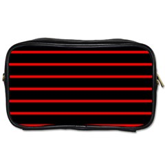 Red And Black Horizontal Lines And Stripes Seamless Tileable Toiletries Bags