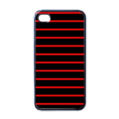 Red And Black Horizontal Lines And Stripes Seamless Tileable Apple Iphone 4 Case (black)