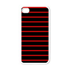 Red And Black Horizontal Lines And Stripes Seamless Tileable Apple Iphone 4 Case (white)