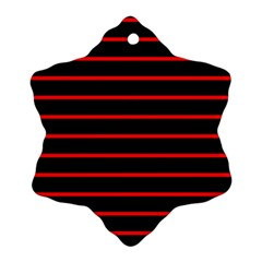 Red And Black Horizontal Lines And Stripes Seamless Tileable Snowflake Ornament (two Sides)