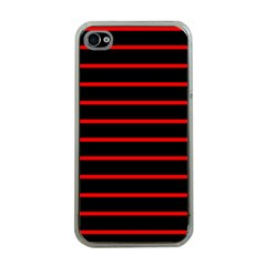 Red And Black Horizontal Lines And Stripes Seamless Tileable Apple Iphone 4 Case (clear)
