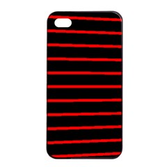 Red And Black Horizontal Lines And Stripes Seamless Tileable Apple Iphone 4/4s Seamless Case (black)
