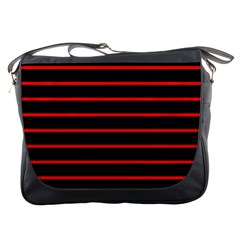 Red And Black Horizontal Lines And Stripes Seamless Tileable Messenger Bags