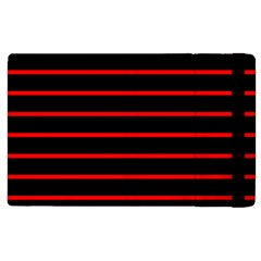 Red And Black Horizontal Lines And Stripes Seamless Tileable Apple Ipad 3/4 Flip Case